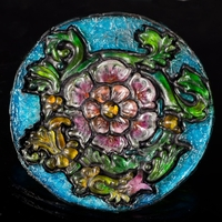 "Isomalt Stained Glass Featured project for my class Painting on Isomalt. Hand paint and airbrush. Mold is hand sculpted 6"" x 1/2"". Class sponsors..."