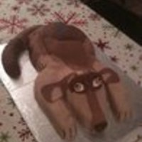 Puppy Cake Marbled white and chocolate cake in a half sheet pan then carved. Tail and head is RKT. Everything covered in buttercream them fondant. All...