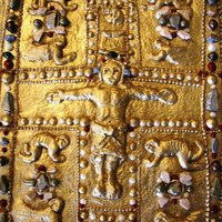 Manuscript Cover Of The Lindau Gospels From The Charlemagne Age 12 x 16 inch sculpture made from Scottish Shortbread, piped with royal icing, painted with edible gold dust, and decorated with edible rock...