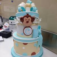 Monkey In The Middle *Baby shower cake I made for a coworker - the monkey matches the one in the bedding :)
