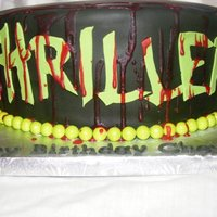 'cause This Is Thriller!   Thriller-themed birthday cake for a young lady's 14th birthday. WASC with strawberry buttercream.