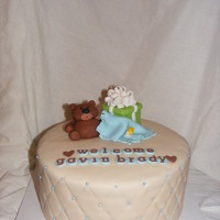 Bear Baby Shower   Chocolate cake with peanut butter frosting. My first real attempt at quilting!