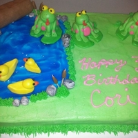 Frog Pond Birthday Cake Made this for my friends daughter who loves frogs.