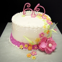 Girlie Girl Cake Butter Cream Icing with Gumpaste flowers. Gumpaste Numbers