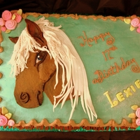 Pretty Horse 12 Year Old Girl wanted a mature horse on her cake - Didn't want it to look like a little girl. She loved this one.