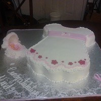 Baby Dress Sculpted Baby Dress Cake and Pressed Sugar Bassinet with a Fondant Baby...