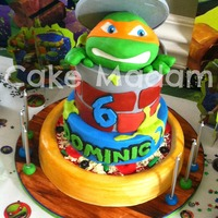 Ninja Turtle Cake I Made This Cake For My Little Ninjas 6Th Birthday I Took A Few Years Off From Making Cakes And Im Thrilled To Be B  Ninja Turtle cake! I made this cake for my little ninja's 6th birthday! I took a few years off from making cakes and I'm THRILLED...