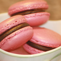 Pink Macarons With Dark Chocolate And Caramel Filling Pink Macarons with Dark Chocolate and Caramel filling