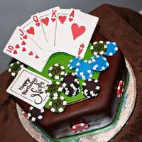 Poker Birthday Cake Cards and chips made out of gumpaste. The cards cut using Circut cake and so were the letters and hearts on them. The cake was covered with...