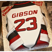 Hockey Jersey Birthday Cake Chocolate Cake Covered With Fondant Used 9 X 13 Sheet Pan Covered In Fondant And Made Sleeves Out Of Fondant Hockey Jersey Birthday CakeChocolate Cake covered with fondant. Used 9 x 13 Sheet pan. Covered in fondant and made sleeves out of fondant...