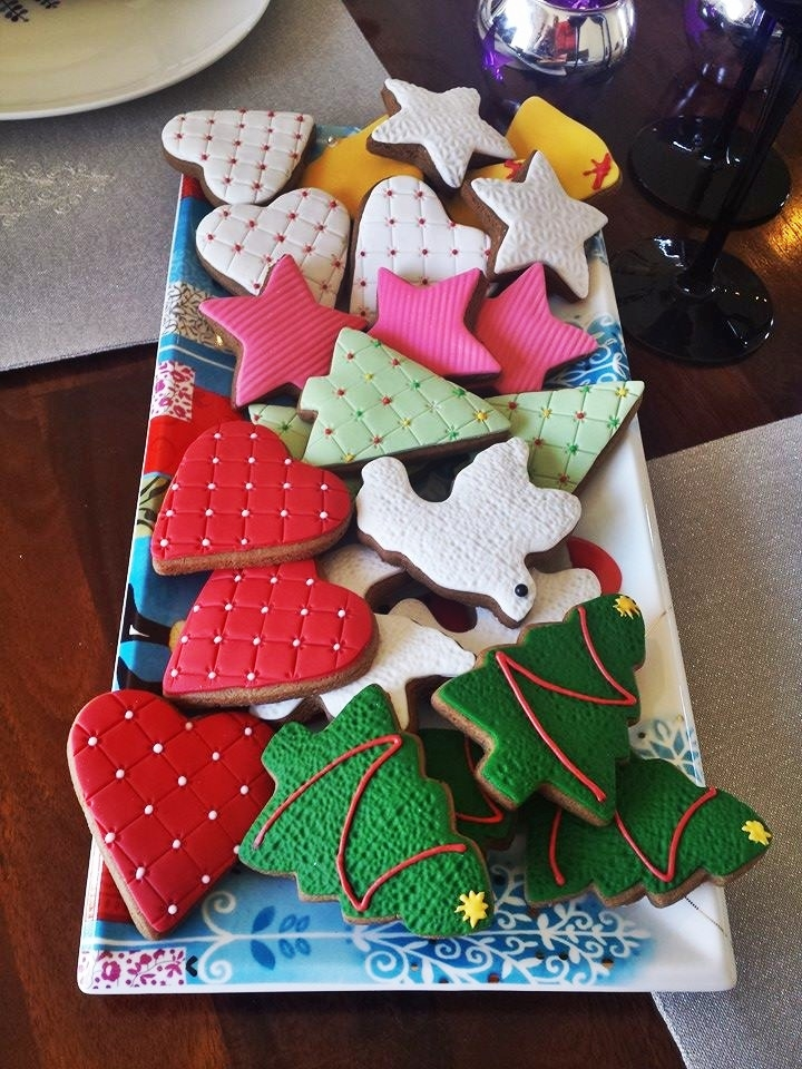 Festive Cookies Tasty gingerbread cookies with fondant icing