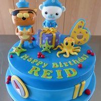 "Octonauts Cake   10"" chocolate mud cake, Octonauts theme with Captain Barnacles and Kwazi"