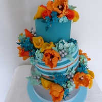"1086 Tilted Cake With Lots Of Bright Sugar Flowers Parrot Tulips Zantedeschia Hydrangea Silver Berries Fantasy Flowers And Leaves 10/8/6"" tilted cake with lots of bright sugar flowers. Parrot tulips, Zantedeschia, hydrangea, silver berries, fantasy flowers and..."