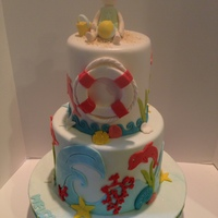 Baby Shower Cake With Beach Theme Baby Shower Cake with Beach Theme to match invitations.