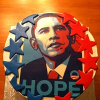 Obama Cake buttercream with fondant accents, used edible icing image on top