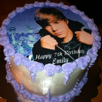 Justin Bieber Cakes vanilla cakes, used edible cake toppers, buttercream accents. Two separate cakes with same theme, so decided to post together