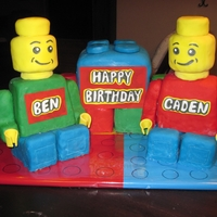 Lego Birthday Cake This cake is for my son and his friend's birthday party. They both love legos! The lego boys are RKT. Blocks are cake covered in...