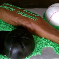 Baseball Cake Hat, bat, and ball