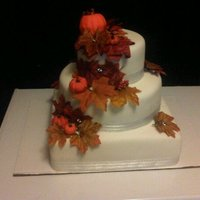 Fall Themed Wedding Cake Square and round fall themed wedding cake. The pumpkins are edible. .