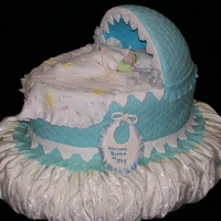 Baby Shower Cake Blue MMF bassinet with gumpaste baby