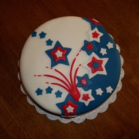 Patriotic Stars Dark Chocolate Cake w/ Vanilla Mint Chip buttercream - refreshing for a hot 4th of July! Half/half design with stars all mmf - tfl!