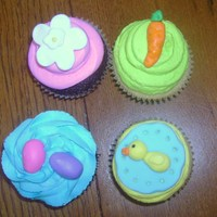 Easter Cupcakes Chocolate and Vanilla Cupcakes with Vanilla Buttercream, and fondant decorations