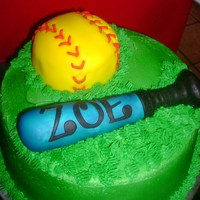 Softball softball made out of cake, bat is rice krispie, white chocolate and fondant.