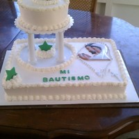 Baptism Cake   this is my first baptism cake , both tiers are yellow coconut cake with pineapple and whip filling and whip topping frosting