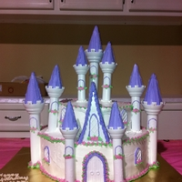 Princess Castle Buttercream frosted, and I used the wilton castle set for the towers.