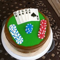 Poker Cake Thanks to other cakes on this website I was able to make this cake. Covered in Marshmallow fondant and cards and chips are made out of...
