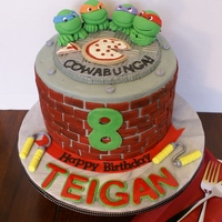 Ninja Turtle Birthday Ninja turtle chocolate fudge cake with cookies & cream filling. Lots of fun to make