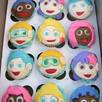 Bubble Guppies Cupcakes Cupcake toppers made from fondant.