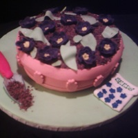 Flower Pot Cake Vanilla butter cake covered in fondant. The flowers, shovel & seeds packet were made from fondant, too. TFL!