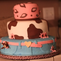 "Cowgirl Cake 6"", 10"", and 14' stacked cakes. All fondant work"