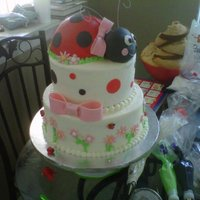 Lady Bug Birthday Wilton ball pan for the ladybug, and gumpaste accents. :) The 2nd picture is of the little smash cake that went with it.