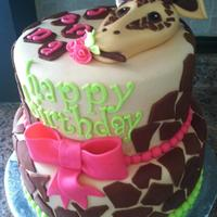 Giraffe Chocolate Cake with Peanut Butter Butter Cream, Covered and Decorated with MMF. Enjoy!