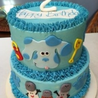 Blues Clues chocolate and vanilla cake with cotton candy butter cream. MMF decorations. Enjoy!
