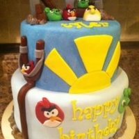 Angry Birds Chocolate Cake with Peanut Butter Buttercream. Covered and Decorated in MMF. Enjoy!