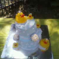 Rubber Duckie 1st baby shower cake I made