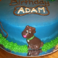 Dog Cake Writing turned out terrible, but since it was for my son I didn't bother re-doing it ;) Dogs are from a chocolate mold.
