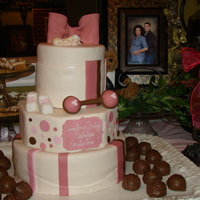 Baby Shower The top tier is a 6 inch round chocolate, chocolate, chocolate cake the middle tier is a 9 inch square (cut into an octagon) butter cake...
