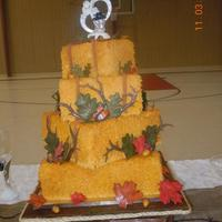 Haybale Wedding Cake With Fall Leaves *
