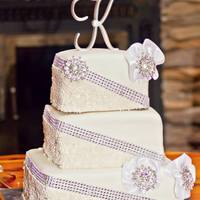 Square Fondant Rhinestone Wedding Cake *Square cake with fondant covered, edible pearls and rhinestones.