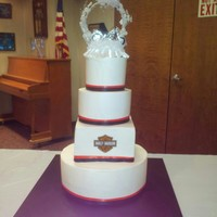 Round And Square Harley Davidson Wedding Cake Covered and smoothed buttercream.
