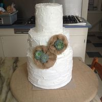 Burlap & Succulents Wedding Cake 3 tall tiers done all in buttercreme. White cake w/peach filling inside