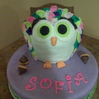 Cute Owl Cake MMF covered chocolate cake in the shape of an owl for my daughter's owl themed birthday.