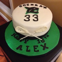 Lacrosse Birthday Cake MMF covered white hazelnut cake w/chocolate filling & fondant/modeling chocolate decorations
