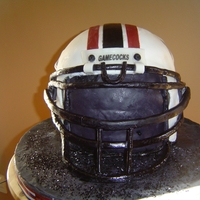 Usc Gamecocks Football Helmet USC Gamecocks football helmet grooom cake. Chocolate cake covered w/MMF & MMF & gumpaste details.