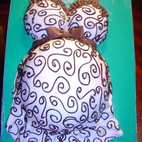 Baby Bump Cake chocolate cake w/MMF details & chocolate piping.