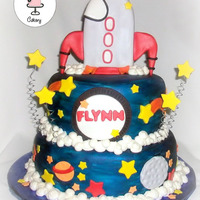*space Rocket Baby Shower Cake* All hand painting on the cake.Bottom Tier Chocolate with OreoTop Tier Chocolate with Peanut Butter.